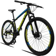 Bicicleta Aro 29 Dropp Z3 21v Câmbios Shimano Freio a Disco Mecânico Quadro 19 Preto/Amarelo/Azul