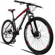Bicicleta Aro 29 Dropp Z3 27v Câmbio Traseiro Acera Freio Hidráulico Suspensão com Trava Quadro 19 Preto/Branco/Vermelho