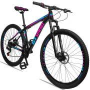 Bicicleta Aro 29 GT SPRINT MX1 21v Freio a disco Mecânico Quadro 17 Preto/Roxo/Azul