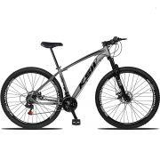 Bicicleta Aro 29 KSW XLT 21v Câmbios Importados Freio a Disco Mecânico Quadro 17 Cinza/Preto
