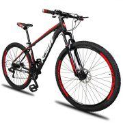 Bicicleta Aro 29 KSW XLT 21v Câmbios Shimano Freio a Disco Mecânico Quadro 19 Preto/Branco/Vermelho