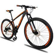 Bicicleta Aro 29 KSW XLT 21v Câmbios Shimano Freio a Disco Mecânico Quadro 19 Preto/Laranja
