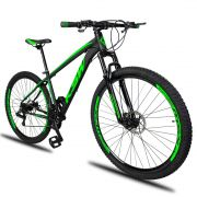 Bicicleta Aro 29 KSW XLT 21v Câmbios Shimano Freio a Disco Mecânico Quadro 19 Preto/Verde
