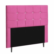 Cabeceira Ana Luísa Estofada Solteiro 90cm Tecido Sintético Pink Com Strass Branco Bela Casa Shop