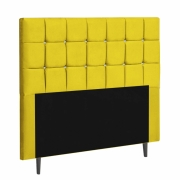 Cabeceira Espanha Estofada Queen 160cm Suede Amarelo Com Strass Branco Bela Casa Shop