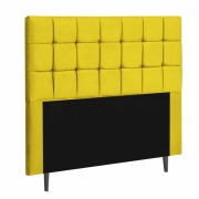 Cabeceira Espanha Estofada Solteiro 100cm Suede Amarelo Com Strass Bela Casa Shop