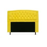 Cabeceira Geovana Plus Suede Amarelo 160cm Queen -Bela Casa Shop