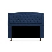Cabeceira Geovana Plus Suede Azul Marinho 90cm Solteiro -Bela Casa Shop