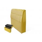 Cabeceira Imperador com Baú 120cm Solteiro Suede Amarelo Bela Casa Shop