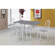 CONJUNTO BRUNA Branco com 4 cadeiras assento Floral e tampo granito - Artefamol