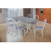 Conjunto Bruna Branco com 6 cadeiras assento floral e tampo granito