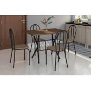 Conjunto Bruna Preto com 4 cadeiras assento ratan e tampo de BP Nature - Artefamol