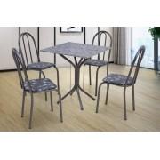 CONJUNTO THAIS PRETO, 4 cadeiras com assento preto flor e tampo de granito
