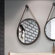 Espelho Decorativo Preto com alça Marrom 67cm - HB Móveis