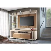 Home Theater Eclipse Off White/Nature - HB Móveis