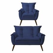 Kit 01 Poltrona Decorativa Opala com Namoradeira Opala Suede Azul Marinho Com Pés Madeira -Bela Casa Shop