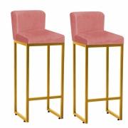Kit 02 Banquetas Decorativa Alta Loues Suede Rose Com Encosto Para Cozinha Bar Balcão Bistrô Pé de Ferro Dourado -Bela Casa Shop