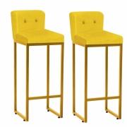 Kit 02 Banquetas Decorativa Alta Loues Tecido Sintético Amarelo Com Botão e Encosto Para Cozinha Bar Balcão Bistrô Pé de Ferro Dourado -Bela Casa Shop