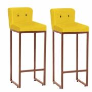 Kit 02 Banquetas Decorativa Alta Loues Tecido Sintético Amarelo Com Botão Preto e Encosto Para Cozinha Bar Balcão Bistrô Pés de Ferro Bronze -Bela Casa Shop