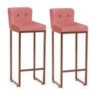 Kit 02 Banquetas Decorativa Alta Loues Tecido Sintético Rose Com Botão e Encosto Para Cozinha Bar Balcão Bistrô Pé de Ferro Bronze -Bela Casa Shop