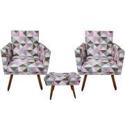 Kit 02 Poltrona Decorativa Nina com rodapé e Puff retangular Triângulo rosa - Bela Casa Shop
