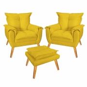 Kit 02 Poltronas Decorativa com Puff Decorativo Gran Paris Suede Amarelo Com Pés Losango