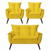 Kit 02 Poltronas Decorativa Opala com Namoradeira Opala Suede Amarelo Com Pés Madeira -Bela Casa Shop