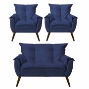Kit 02 Poltronas Decorativa Opala com Namoradeira Opala Suede Azul Marinho Com Pés Madeira -Bela Casa Shop
