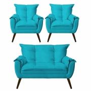 Kit 02 Poltronas Decorativa Opala com Namoradeira Opala Suede Azul Turquesa Com Pés Madeira -Bela Casa Shop
