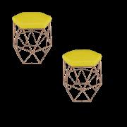 Kit 02 Puff Aramado Suede Amarelo Armação Bronze - Bela Casa Shop