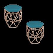 Kit 02 Puff Aramado Suede Azul Turquesa Armação Bronze - Bela Casa Shop
