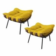 Kit 02 Puffs Decorativo Costela Suede Amarelo