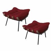 Kit 02 Puffs Decorativo Costela Suede Vermelho