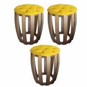 Kit 03 Puffs Decorativo Tamborim Apoio Com Capitonê Suede Amarelo Base De Madeira -Bela Casa Shop