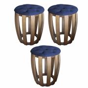 Kit 03 Puffs Decorativo Tamborim Apoio Com Capitonê Suede Azul Marinho Base De Madeira -Bela Casa Shop