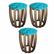 Kit 03 Puffs Decorativo Tamborim Apoio Com Capitonê Suede Turquesa Base De Madeira -Bela Casa Shop