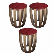 Kit 03 Puffs Decorativo Tamborim Apoio Com Capitonê Suede Vermelho Base De Madeira -Bela Casa Shop