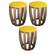 Kit 03 Puffs Decorativo Tamborim Apoio Suede Amarelo Base De Madeira -Bela Casa Shop