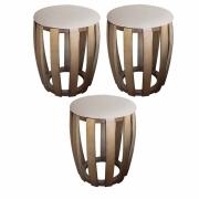 Kit 03 Puffs Decorativo Tamborim Apoio Suede Bege Base De Madeira -Bela Casa Shop