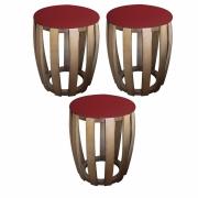 Kit 03 Puffs Decorativo Tamborim Apoio Suede Vermelho Base De Madeira -Bela Casa Shop