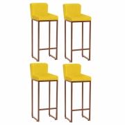 Kit 04 Banquetas Decorativa Alta Loues Suede Amarelo Com Encosto Para Cozinha Bar Balcão Bistrô Pé de Ferro Bronze -Bela Casa Shop
