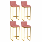 Kit 04 Banquetas Alta Loues Suede Rose Com Encosto Para Cozinha Bar Balcão Bistrô Pé de Ferro Dourado -Bela C