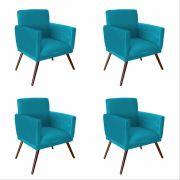 Kit 04 Poltrona Decorativa Nina Com Rodapés Azul Turquesa - Bela Casa Shop