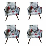 Kit 04 Poltronas Decorativa Nina Paris