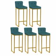 Kit 05 Banquetas Decorativa Alta Loues Suede Azul Turquesa Com Botão e Encosto Para Cozinha Bar Balcão Bistrô Pé de Ferro Dourado -Bela Casa Shop