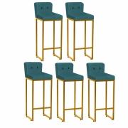 Kit 05 Banquetas Decorativa Alta Loues Suede Azul Turquesa Com Botão Preto e Encosto Para Cozinha Bar Balcão Bistrô Pé de Ferro Dourado -Bela Casa Shop