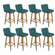 Kit 08 Banquetas Lara Com Encosto Para Balcão e Cozinha Bistrô Suede Azul Turquesa Com Pés Palito Castanho -Bela Casa Sh