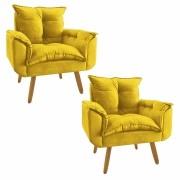 Kit 2 Poltrona Decorativa Opala Plus Amarelo