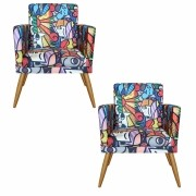 Kit 2 Poltronas Decorativa Nina Romero Britto