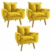 Kit 3 Poltrona Decorativa Opala Plus Amarelo